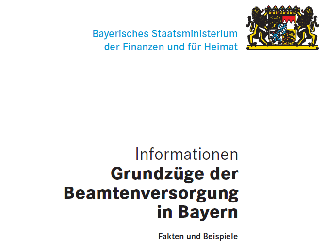 Durch Anklickern wird die Broschüre Grundzüge der Beamtenversorgung in Bayern, Stand Januar 2020 geöffnet