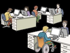 Bild zeigt mehrere Personen, die in einem Grossraumbüro arbeiten