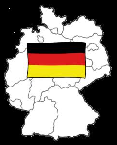 Bild zeigt die Flagge der Bundes-Republik Deutsch-Land und darunter die Umrisse der Land-Karte von Deutschland mit den Grenzen der einzelnen Bundes-Länder.