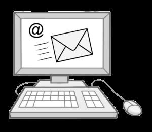 Das Bild zeigt einen Monitor mit Tastatur und Maus. Der Bildschirm zeigt einen Briefumschlag. Das Bild stellt die Erreichbarkeit durch E-Mail dar.