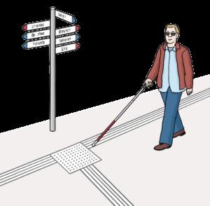 Das Bild zeigt eine blinde Person mit einem Blinden-Stock, die sich an Boden-Indikatoren orientiert.